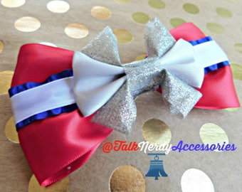 Red White Blue and Silver Patriotic Hair Bow