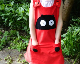 Beautiful Girls Red Ladybird Dress with Spots on Back Pockets 2-3 / 2 Years