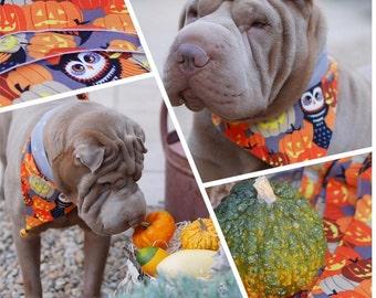 """Scarf / Bandana couture dog (Design """"Owlyrange"""")"""