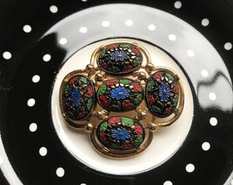 Painted Floral Brooch / Sarah Coventry Brooch / Vintage Brooch / Hand Painted Brooch / Costume Jewelry / Vintage Jewelry / 70's Jewelry