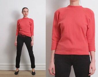 80s Coral Pink Strong Shoulder Sweatshirt / S