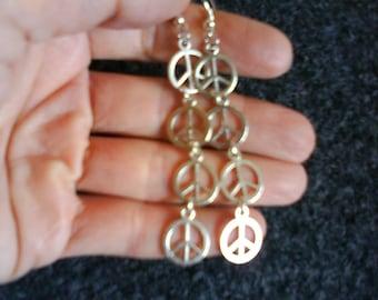 LoliRosa Silver Tone Peace Sign Drop Earrings