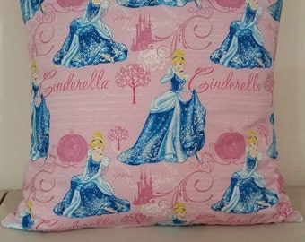 Kids cushion cover - Cinderella in blue or pink. Approximately 45cm x 45cm.
