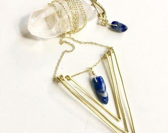triangle necklace, triangle pendant, chevron necklace, statement necklace, convertible necklace, V necklace, stone necklace, chevron