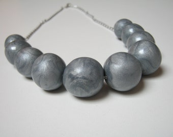 Metalic silver necklace - silver handmade fimo chainlet