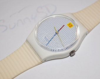 Rare 1985 Vintage Swatch Watch Dotted Swiss - GW104