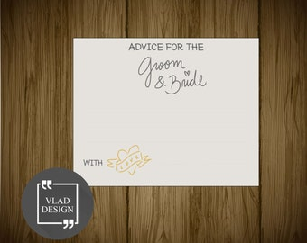 4'' x 5'' Wedding Advice cards Bride and Groom advice cards Mr. and Mrs. Advice card Advice cards Printable wedding cards DIY wedding