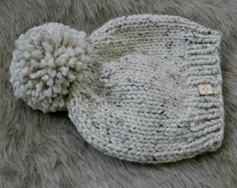 Knit Pom Pom Hat | Handmade | Chunky Slouchy Hat