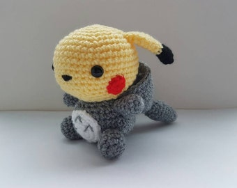 Totochu Pikachu Totoro amigurumi/crochet | Pikachu plush | my neighbour totoro | birthday | gifts for him | gifts for her [Made to order]