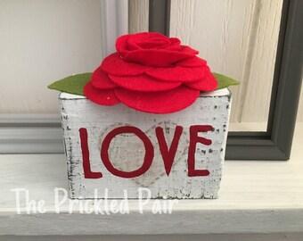 Ready to ship - Love Wooden Mini Block -Valentine's