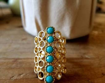 adjustable ring.turquoise an gold . summer rings