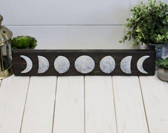 Phases of the Moon - Wood Wall Decor - Bohemian Decor - Handmade Decor - Wall Art - Moon Sign - Rustic Decor