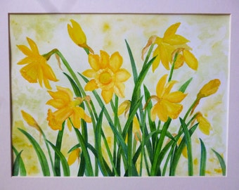 An  Original water colour painting of wonderful yellow daffodil flowers.