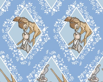 Disney Fabric - Disney Bambi Fabric - Camelot Bambi Fabric - Bambi Diamond in Blue Fabric - Thumper Rabbit - Fabric by the yard