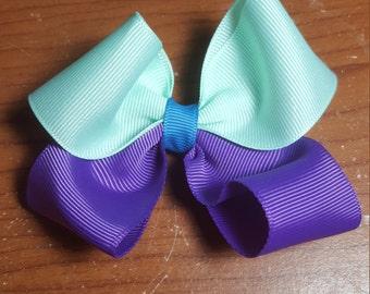 Aqua, purple, and blue hair bow