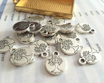 Bulk sale 100 Pieces /Lot Antique Silver Plated 15mm double life trees charms