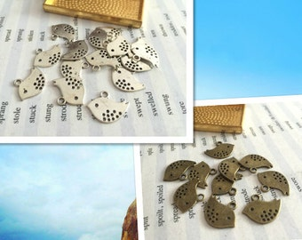 wholesale 100 Pieces /Lot Antique Silver & Bronze Plated 12mmx16mm birds charms