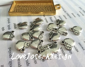 wholesale 100 Pieces /Lot Antique Silver Plated 14mmx11mm Apple charms