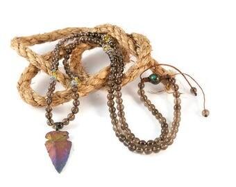 Smoked Quartz & Citrine Necklace Mala Boho Style. Yoga. Meditation. Ideas for her. Boho Jewelry. Bohemian Necklace. Tassel Necklace