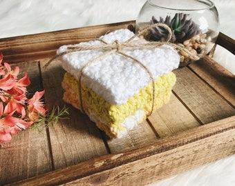 Lemon Crochet Washcloth Set | Washcloth Set | Cotton Washcloths | Yellow Washcloth Set | Kitchen Dishcloth Set | Crochet Dishcloth Set