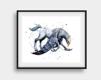 Hippogriff, Harry Potter, Harry Potter Art, Harry Potter Print, Hippogriff Art, Harry Potter Poster, Harry Potter Gifts, Watercolor Art