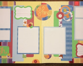 Bright and Colorful Premade 12x12 Scrapbook pages