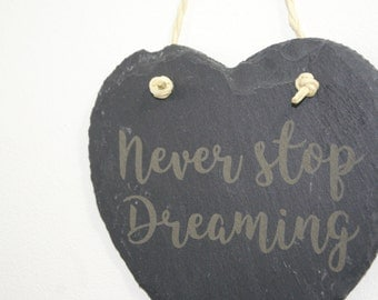 Hanging Slate Hearts With Engraved Quotes/ Messages