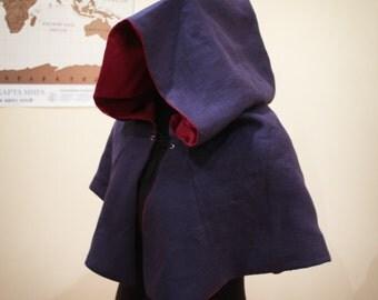 DOUBLE-SIDED! Linen Medieval Hood - Viking hood, Renaissance, elven, archer, red hood, fantasy, huntsman, costume, cosplay.