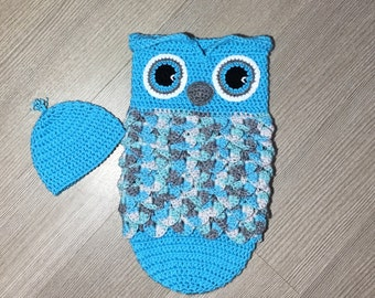 Crochet Owl Cocoon/ Sleep Sack and Hat Pattern