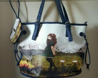 Anime Girl Graphic Bag - 2 Piece Set