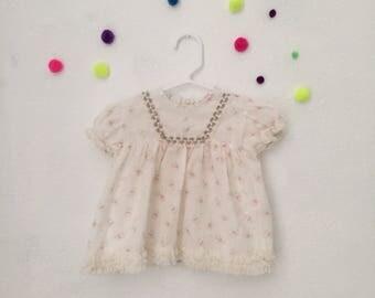 Vintage smock dress vintage baby dress vintage baby dress 80s baby dress 80s baby clothes size 12-18 months