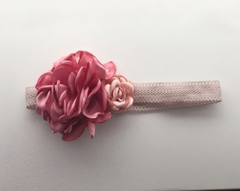 Baby girl headband; Dusty rose headband; Rose flower headband; Newborn Headband; Pink headband