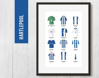 PERSONALISED Hartlepool Team Print, Football Poster, Football Gift, FREE UK Delivery
