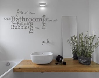 Bathroom Wall Quote   Word Cloud, Wall Art Sticker, Vinyl Decal, Modern  Transfer