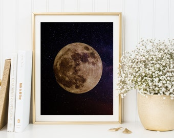 Full moon wall art, Full moon art print, Full moon printable