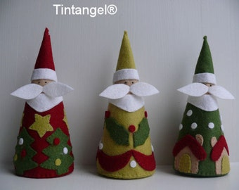 Three Jolly Santa's - PDF pattern, - download