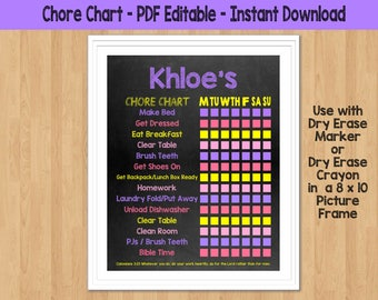Chore Chart for kids Chore Chart Printable Chore Chart Dry Erase Chore Chart Toddler Responsibility Chart Girls Chore Chart Kids Chore Chart