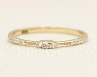 Diamond Milgrain Pave Set 14K Gold Wedding Band Stacking Ring AD1141