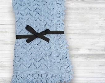 Hand Knit Baby blanket - handmade blanket, baby blanket, baby boy blanket, baby shower gift, newborn gift, nursery blanket