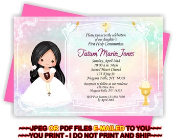 First Holy Communion, Invitation, Girl 1st Communion, Communion Invite, Girl, 1st Communion Invite -  FIRSTCOMG4