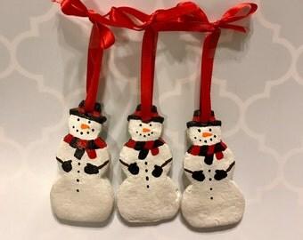 Set of 3 Snowman Salt Dough Ornaments