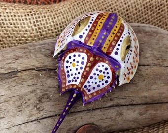 Painted horseshoe crab shell