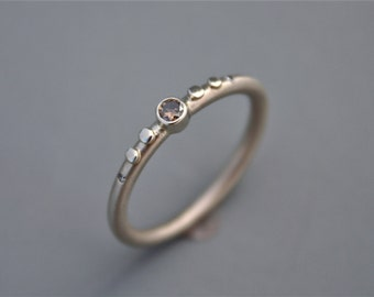 14k White Gold Ring with Champagne Diamond Gold Pods and White Diamond Side Stones Copperstone Designs
