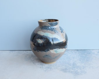 Ceramic Vessel, Green Brown Grey Handmade Pottery Vase