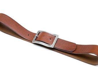 Leather belt - color Cognac - 4 cm - length 91