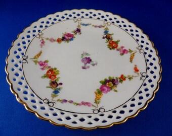"""Schumann Arzberg Bavaria TEA PLATE 6""""~ Dresdener Floral+Swag~Lace Pierced Gold Edge"""