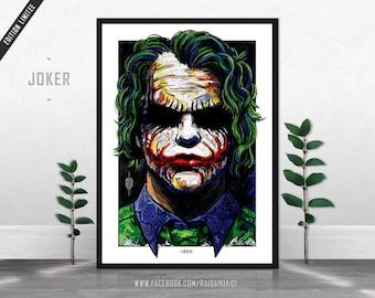Joker - Limited Edition Print A3 - The Dark Knight - Heath Ledger, Batman poster, Villains, Supervillains, heroes, Original ArtWork, Fanart