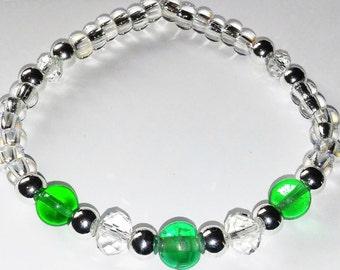 Green Trio Beaded Bracelet, Handmade