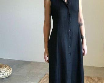 button up linen tank dress