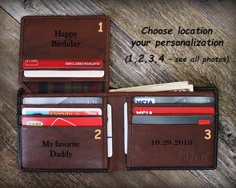 Personalized Wallet - Father's Day - Gift for Father - Custom Wallet - Father Gift from Daughter - Mens Leather Wallet - Black/Toffee - 7751